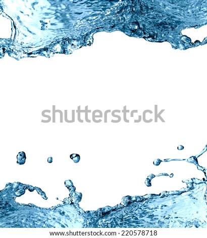 Abstract water splash picture frame with free space on white - stock photo