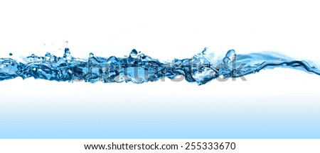 Abstract water splash with waves and bubbles. - stock photo