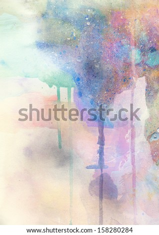 Abstract watercolor and ink painting on grunge paper texture - stylish background - stock photo