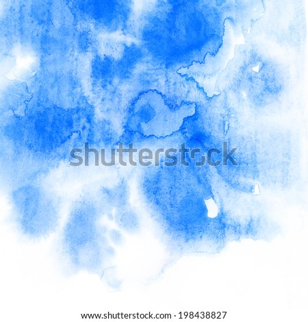 Abstract watercolor. Aquarelle colorful texture. Blue aquarelle background.