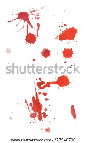 Abstract watercolor aquarelle hand drawn red blood drop splatter stain art paint on white background.