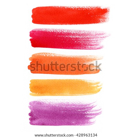 Abstract watercolor background. Colorful labels and banners isolated on white. Wet watercolor texture. Hand painted elements for web design. - stock photo