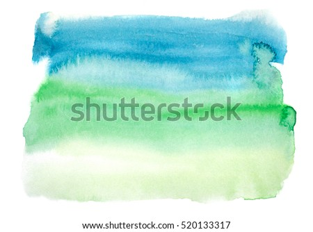 Abstract watercolor background hand painted on white