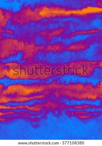 Abstract watercolor background in blue and orange colors - Fur - stock photo