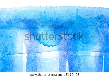 Abstract watercolor background with blue wash layers
