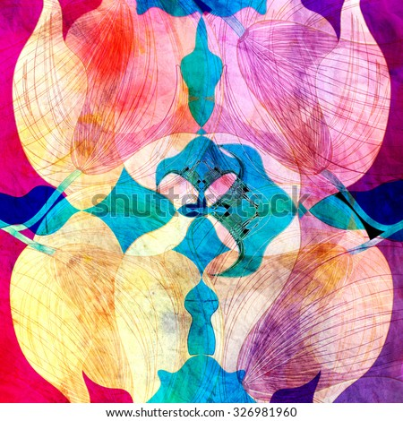 Abstract watercolor background with colorful vegetable elements - stock photo