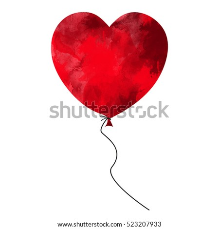 Abstract watercolor balloon with heart shape. Valentines Day card