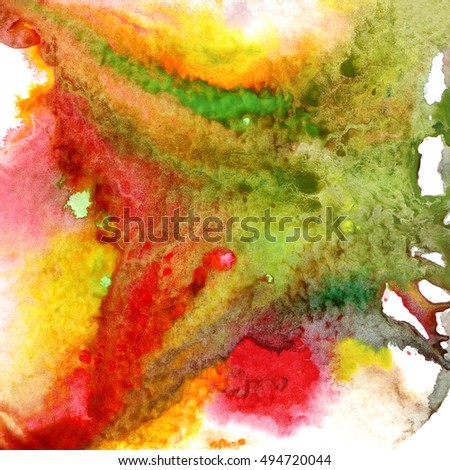 abstract watercolor bright background, hand painted, red green and yellow colors