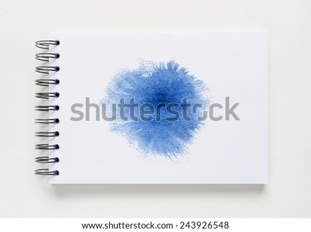 Abstract watercolor brushed on white notebook background. - stock photo
