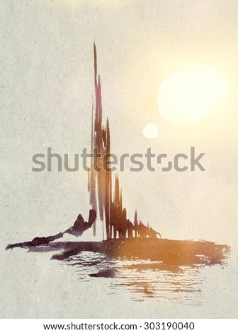 abstract watercolor castle in light of two suns on alien planet or in dreams - hand made graphics with digital adjustment - stock photo