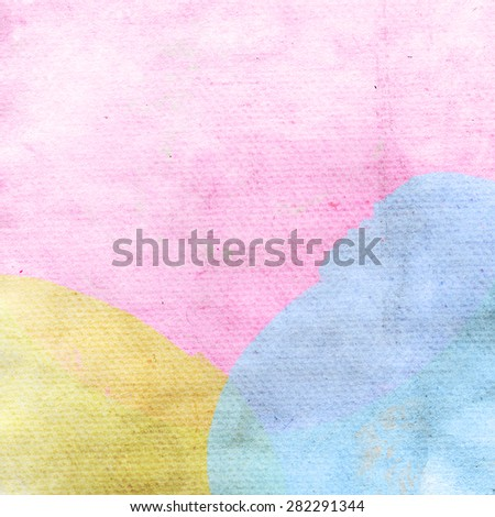 Abstract watercolor circle painted background in blue, pink and yellow. Bright watercolor painting for your design. Perfect for invitation, stationery or web design. - stock photo