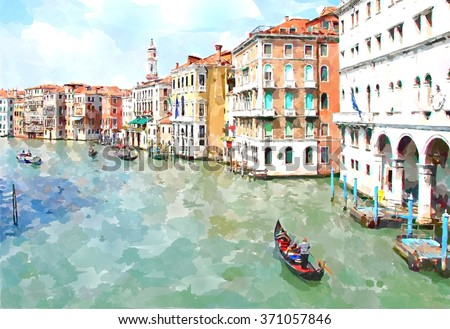 stock photo abstract watercolor digital generated painting of the main water canal houses and gondolas in 371057846 - Каталог — Фотообои «Венеция»