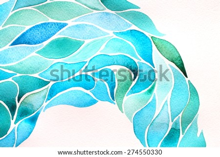 Abstract watercolor floral pattern - wave of glass leaves. The flow. Backgrounds & textures shop.  - stock photo