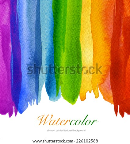 Abstract watercolor flow down hand painted background. Textured paper. - stock photo