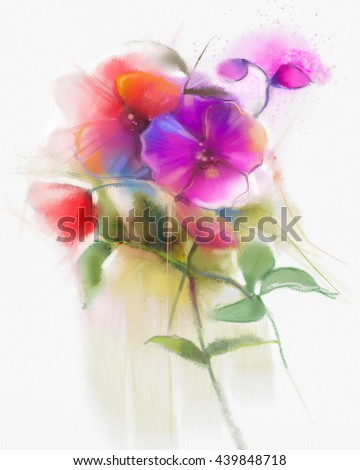 Abstract watercolor flowers painting. Hand paint still life pink and red orchid flower , floral in soft white yellow, green watercolor background. Spring flower nature background - stock photo