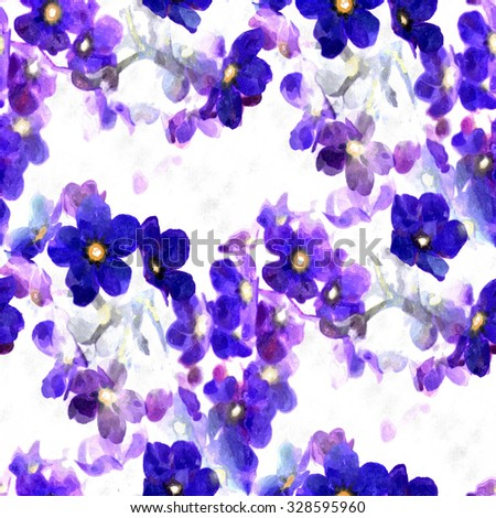 abstract watercolor flowers - seamless fabric pattern - stock photo