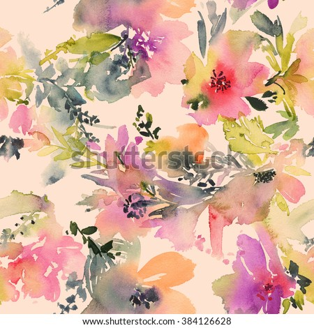Abstract watercolor flowers. Seamless pattern. Bright colors. The unusual shape. - stock photo