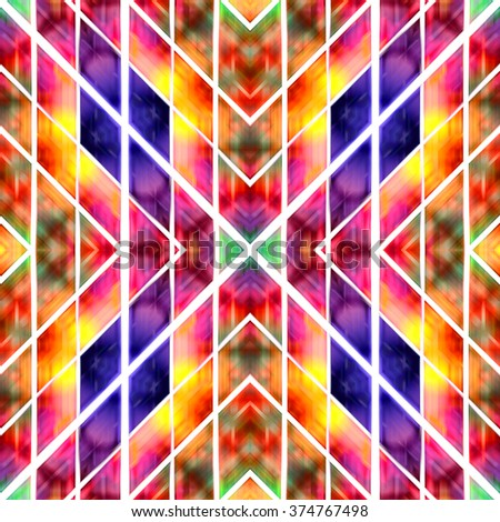 Abstract watercolor geometric pattern style - stock photo