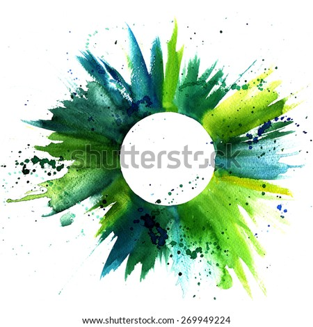 Abstract watercolor green and blue grunge background texture with a circle for text inside