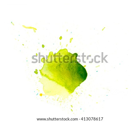 Abstract  watercolor green stain.