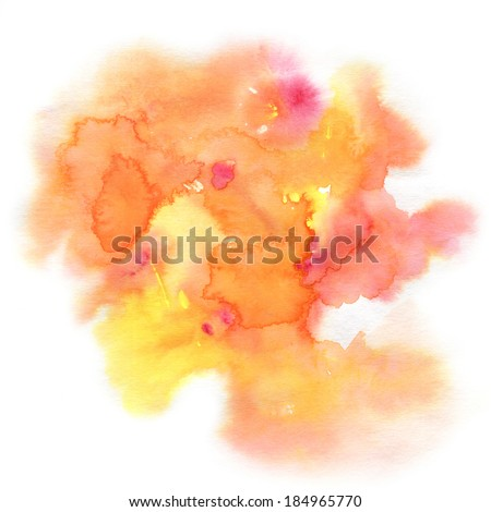 Abstract watercolor hand painted background in orange colors - stock photo