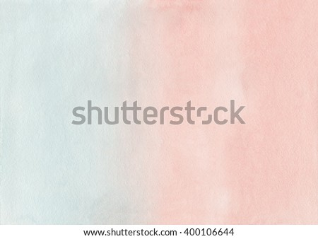 Abstract watercolor hand painted background. Pink and blue watercolour texture gradient. Pastel colored palette. Light Cyan and Salmon gradient background. - stock photo