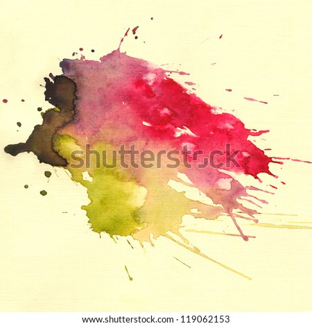 Abstract watercolor hand painted background. Watercolor blot background, raster illustration.