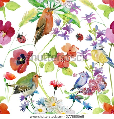 Abstract watercolor hand painted background with flowers, leaves and birds. Floral decor. Original floral seamless background. Bright colors watercolor, autumn-summer botanical elements. - stock photo