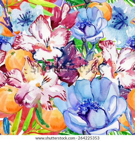 Abstract watercolor hand painted backgrounds with flowers