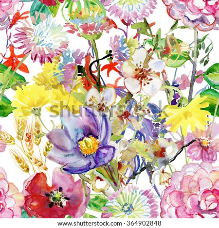 Abstract watercolor hand painted backgrounds with flowers.