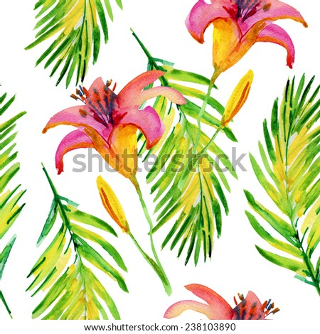 Abstract watercolor hand painted backgrounds with  lily flowers and tropical leaves. - stock photo