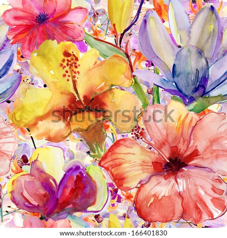 Abstract watercolor hand painted backgrounds with magnolia,  hibiscus and orchid. - stock photo