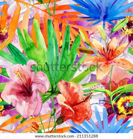 Abstract watercolor hand painted backgrounds with magnolia, lily , orchid flowers and tropical leaves. - stock photo