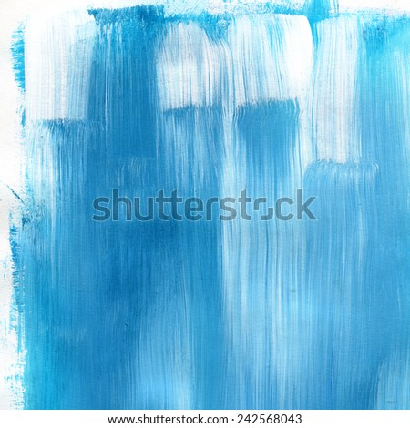 Abstract watercolor hand painted brush strokes. Vertical striped background. Light blue and white brush strokes on paper texture.