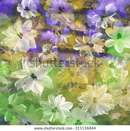 Abstract watercolor handmade painting. Floral background - stock photo