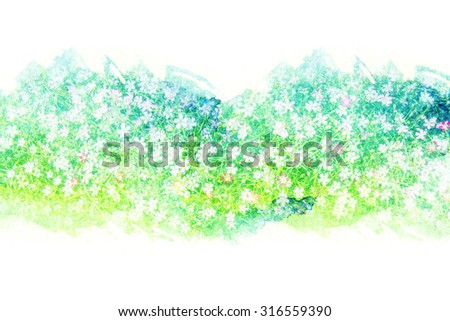 Abstract watercolor illustration of blossom flower. Watercolor painting on paper. Floral watercolor illustration. - stock photo