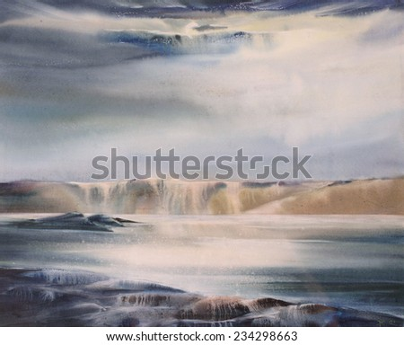 abstract watercolor landscape; big wave; sunlight through the clouds