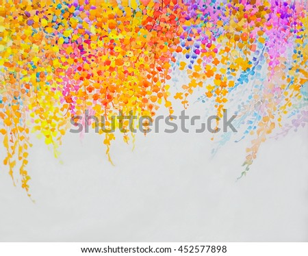 Abstract watercolor original landscape painting imagination colorful of beauty flowers and emotion in blue background - stock photo