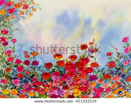 Abstract watercolor original landscape painting imagination colorful of roese flowers and emotion in blue background - stock photo