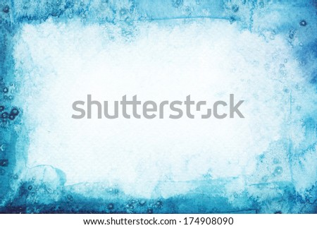 Abstract watercolor painted background. Snow winter texture. - stock photo