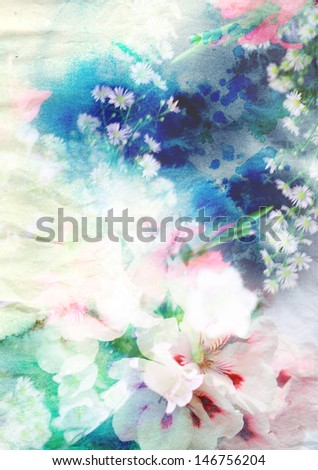 Abstract watercolor painting combined with flowers on paper texture - stock photo