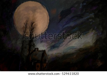 abstract watercolor painting with full moon over the silhouette of spooky house and trees