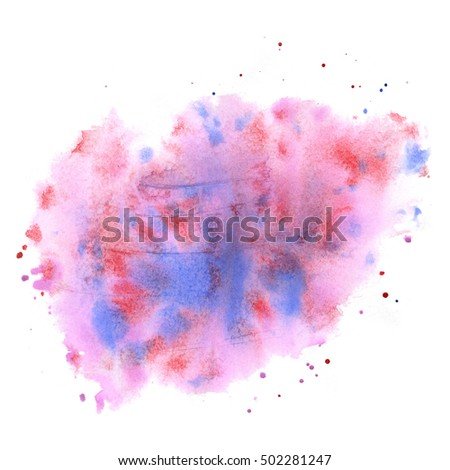 abstract watercolor splash. watercolor drop pink blue isolated blot for your design