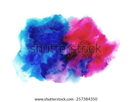 abstract watercolor splashes - blue and magenta - stock photo