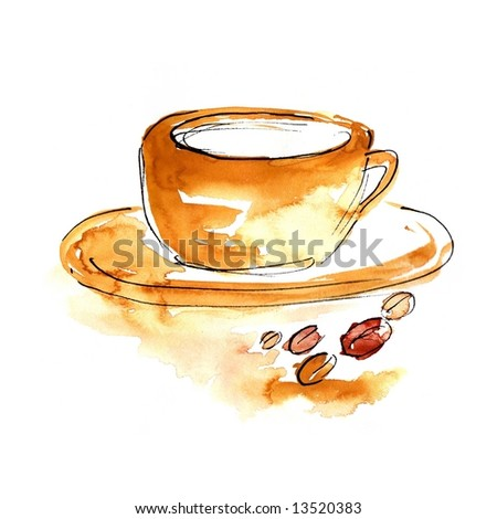 Abstract watercolour illustration: Cup of Coffee or cappuchino with coffee beans. Art is painted and created by photographer.