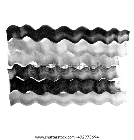 Abstract waves illustration. Black and white ink background. Watercolor horizontal lines. Beautiful texture for card, poster, invitation.
