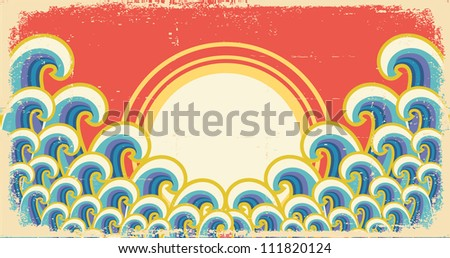Abstract waves illustration with sun on vintage background.Raster - stock photo
