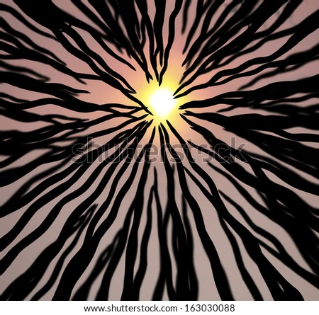 Abstract wavy silhouette rising up to a blazing sun.  - stock photo