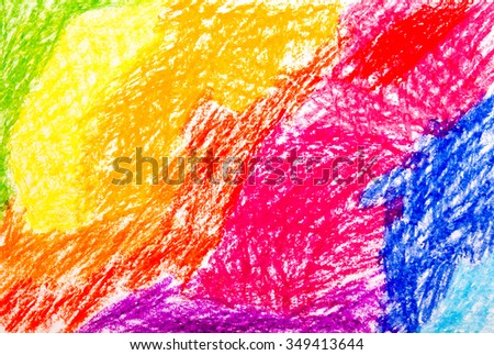 Abstract wax crayon hand drawing background - stock photo