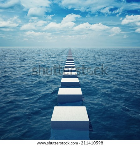 Abstract way in sea receding into distance beyond horizon - stock photo